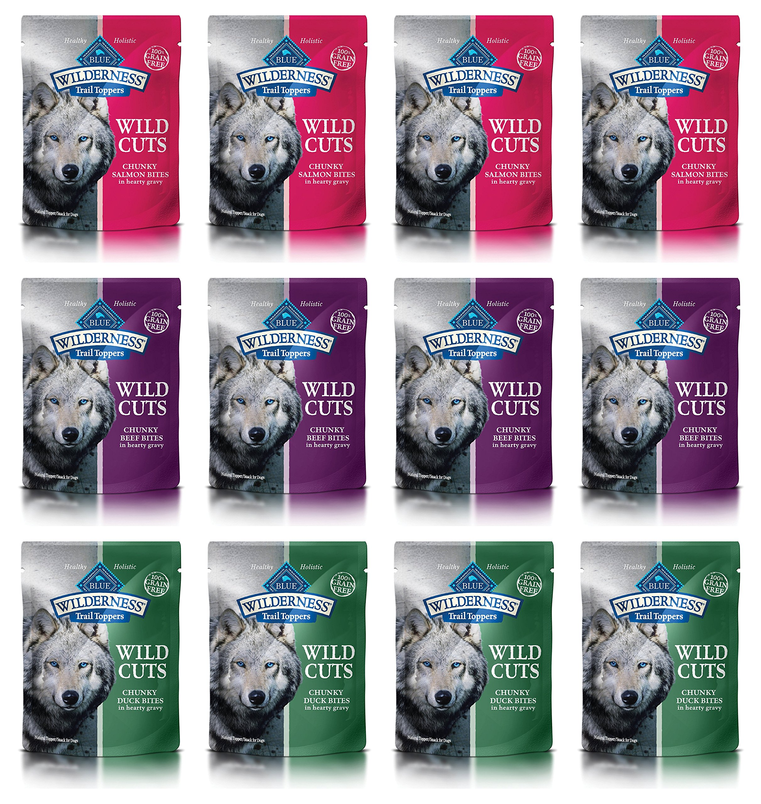 Blue Wilderness Trail Toppers Wild Cuts Dog Food in 3 Flavors: (4) Duck, (4) Beef, and (4) Salmon (3 Oz Each, 12 Pouches Total)