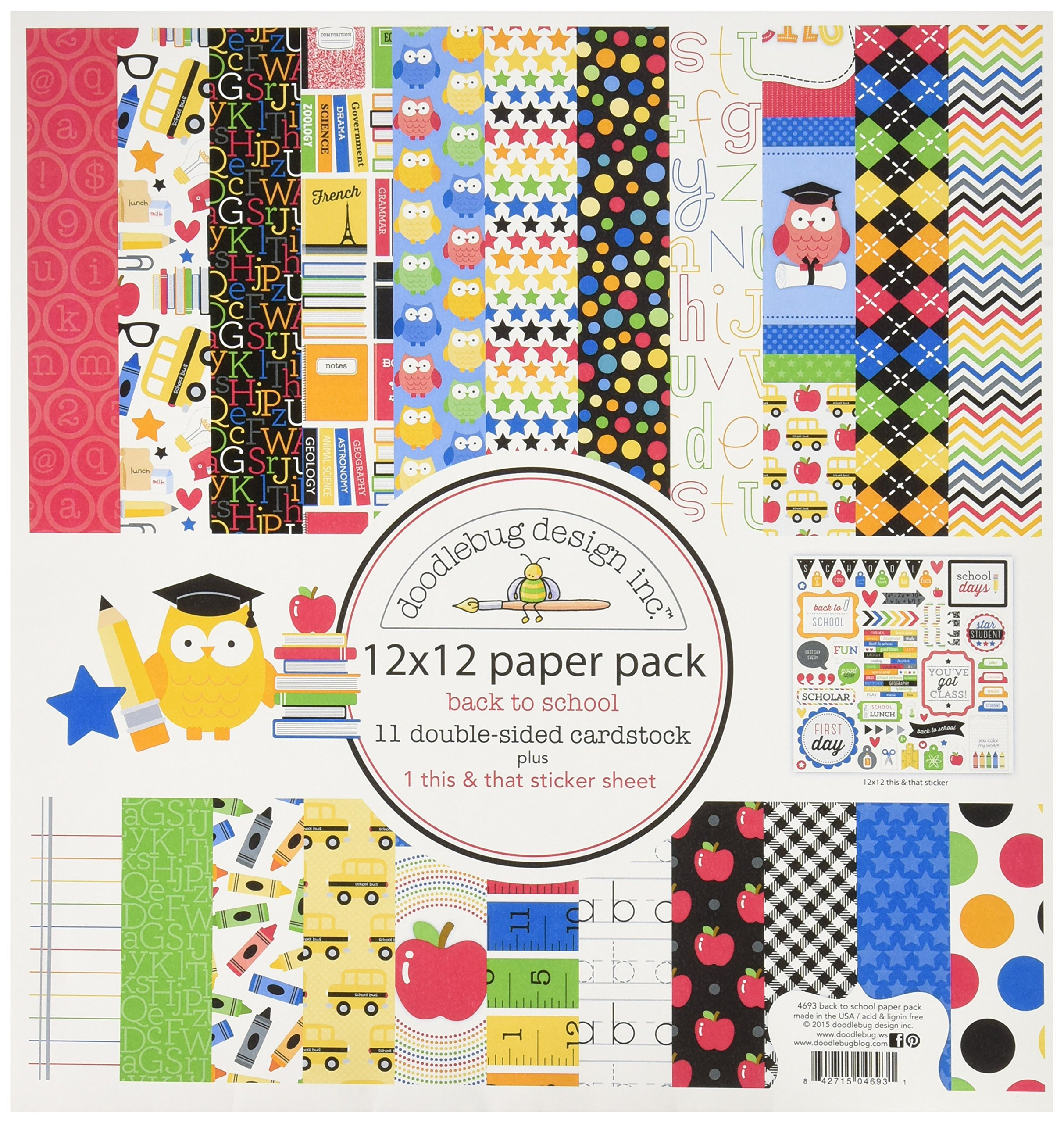 DOODLEBUG School Paper Pack, 12 by 12''