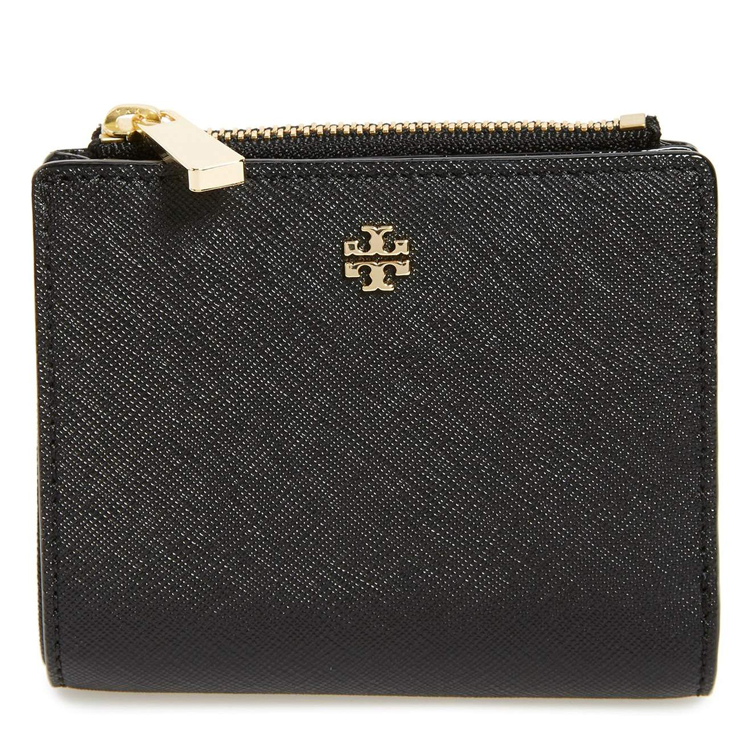 Tory Burch Robinson Mini Wallet Leather Coin Case Black by Tory Burch