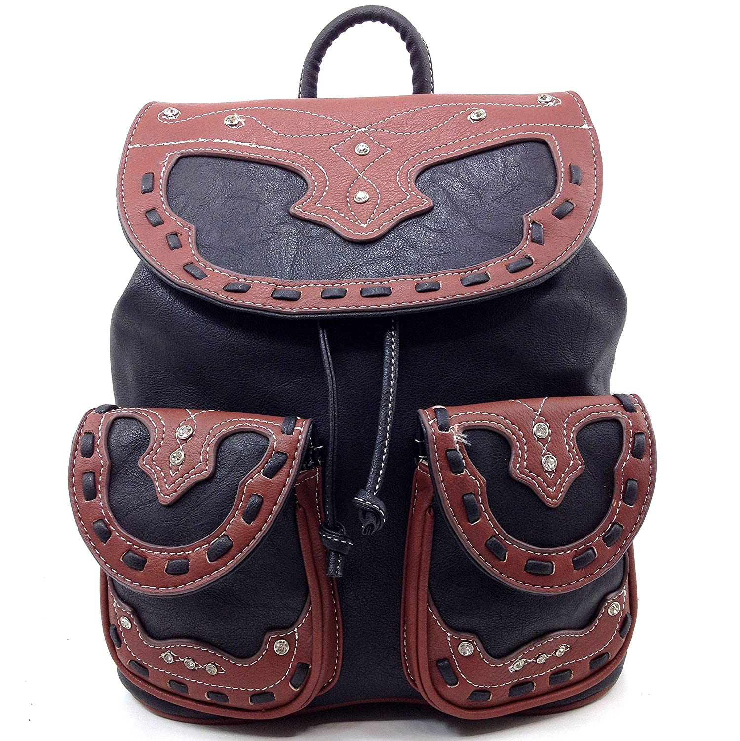 latest selection deft design low price Justin West Trendy Western Rhinestone Leather Conceal Carry Top Handle  Backpack Purse