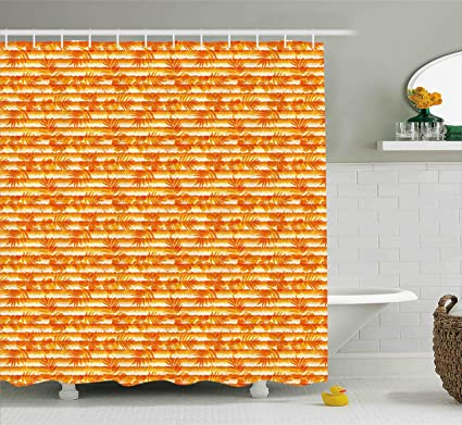 Ambesonne Orange Shower Curtain Floral Decor Flowers And Grunge Stripes Pattern Decorative Design Print
