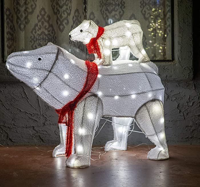 Joiedomi 2 Packs Plush Polar Bears LED Yard Lights for Christmas Outdoor Yard Garden Decorations, Christmas Event Decoration, Christmas Eve Night Decor