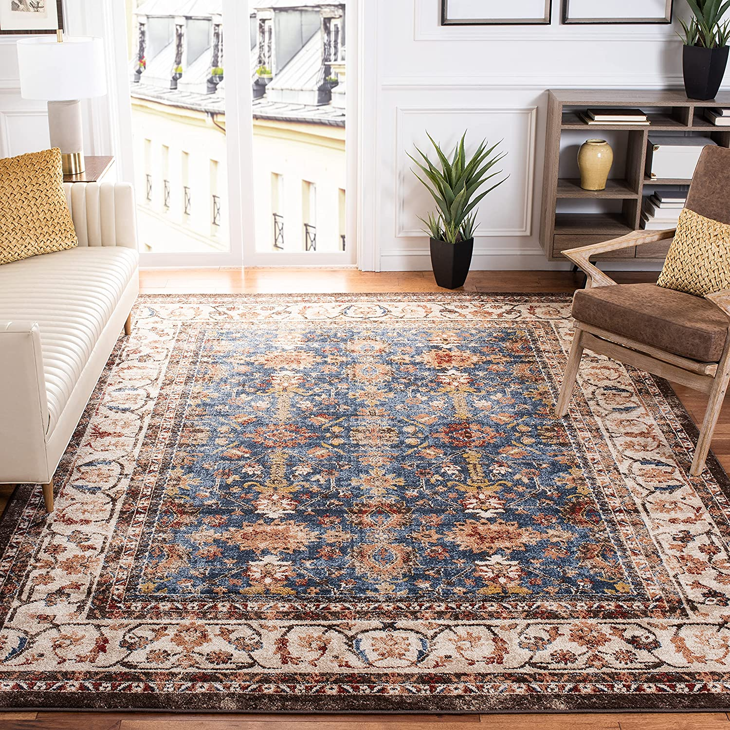 Safavieh Bijar Collection BIJ650B Traditional Oriental Distressed Non-Shedding Stain Resistant Living Room Bedroom Area Rug, 8' x 10', Royal / Ivory