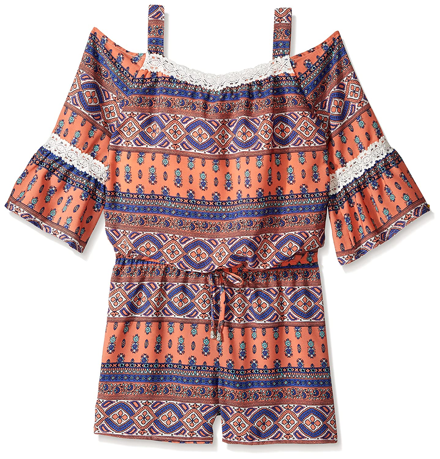 My Michelle Girls' Big Cold Shoulder Romper with Crochet 4773AA1G