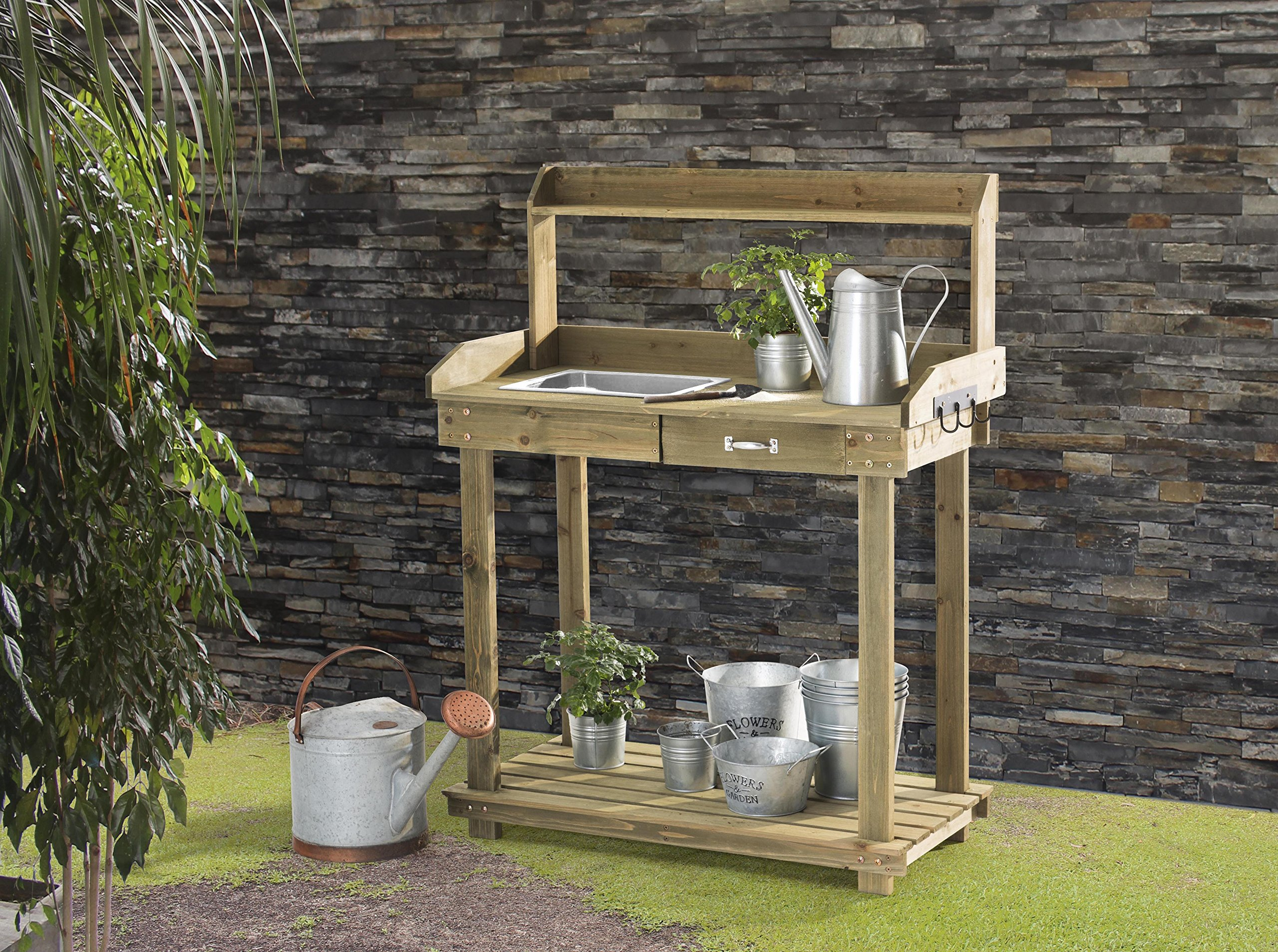 Sunjoy Church Wooden Potting Bench