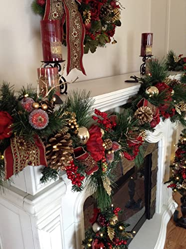 christmas garland by tyler interiors beautiful pre decorated 8 foot cordless garland handmade