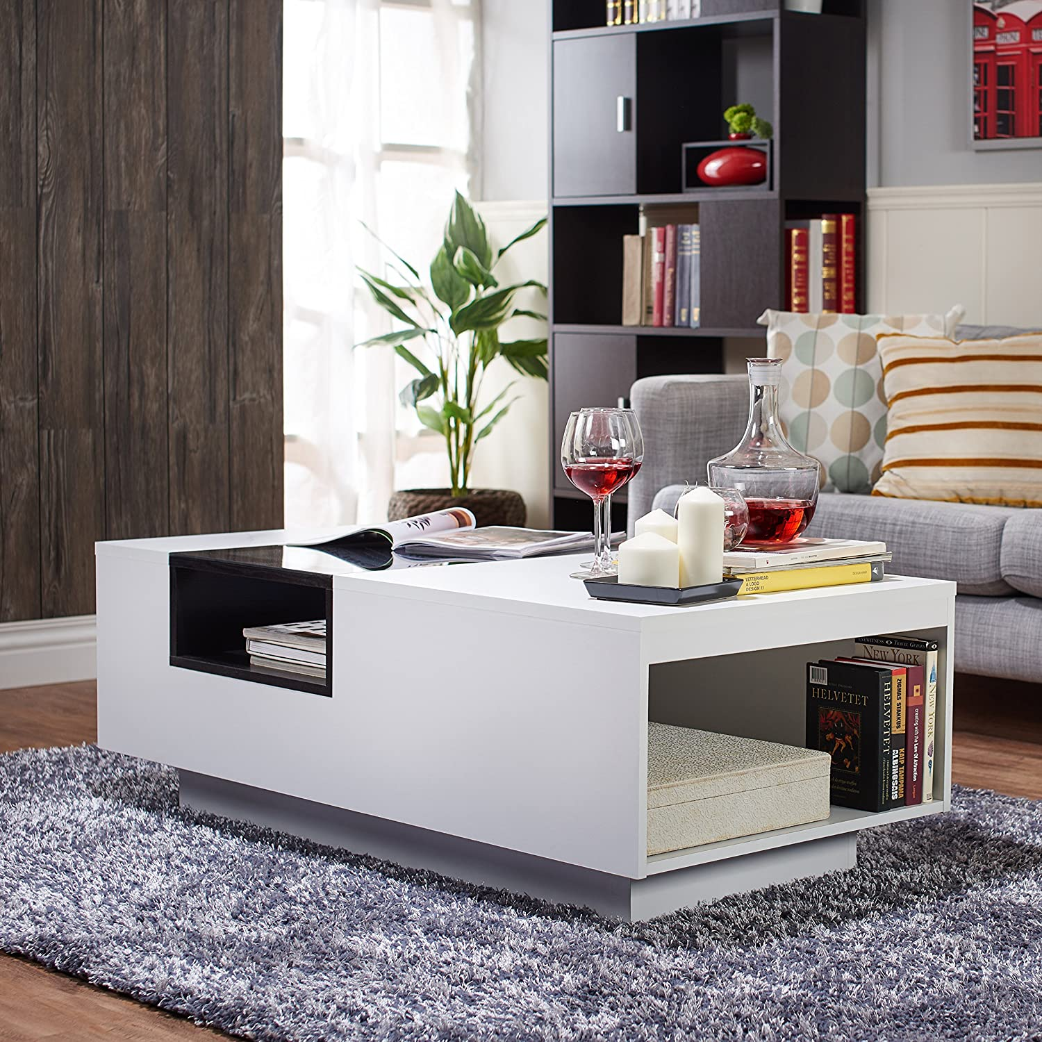 amazon com iohomes dekker modern coffee table white kitchen