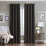 Eclipse 12968052084CHR Wyndham 52-Inch by 84-Inch Grommet Brushed Nickel Blackout Single Window Curtain Panel, Charcoal