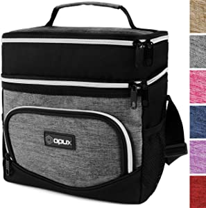 OPUX Premium Insulated Dual Compartment Lunch Bag for Men Women | Double Deck Leakproof Liner Lunch Tote | Soft Reusable Lunch Box for Work School Kid | Medium Lunch Pail, Fits 8 Cans (Heather Gray)
