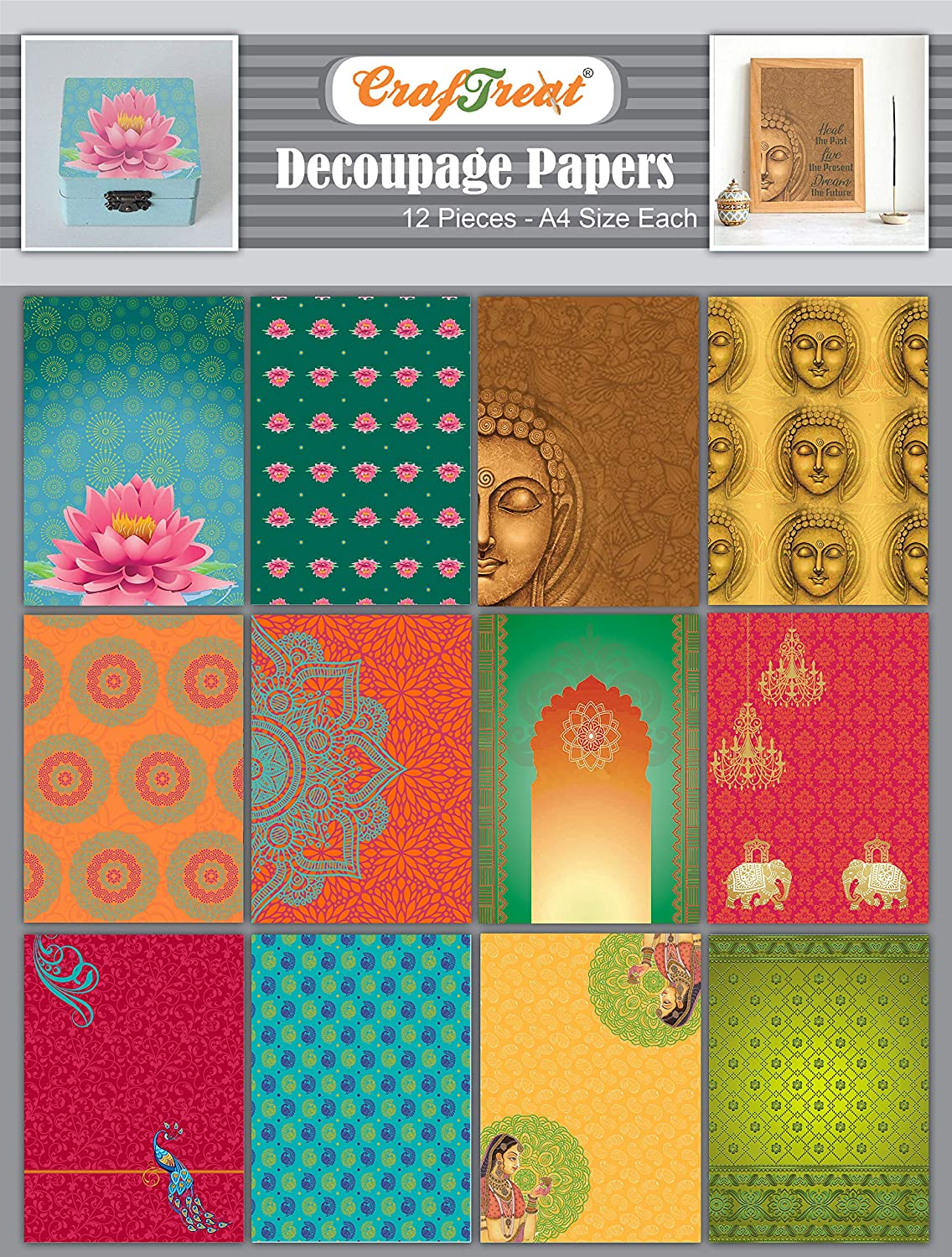 CrafTreat India Decoupage Paper for Crafts - Ethnic India - Size: A4-8 Pcs - Furniture Decoupage Paper Buddha - Decoupage Paper Indian