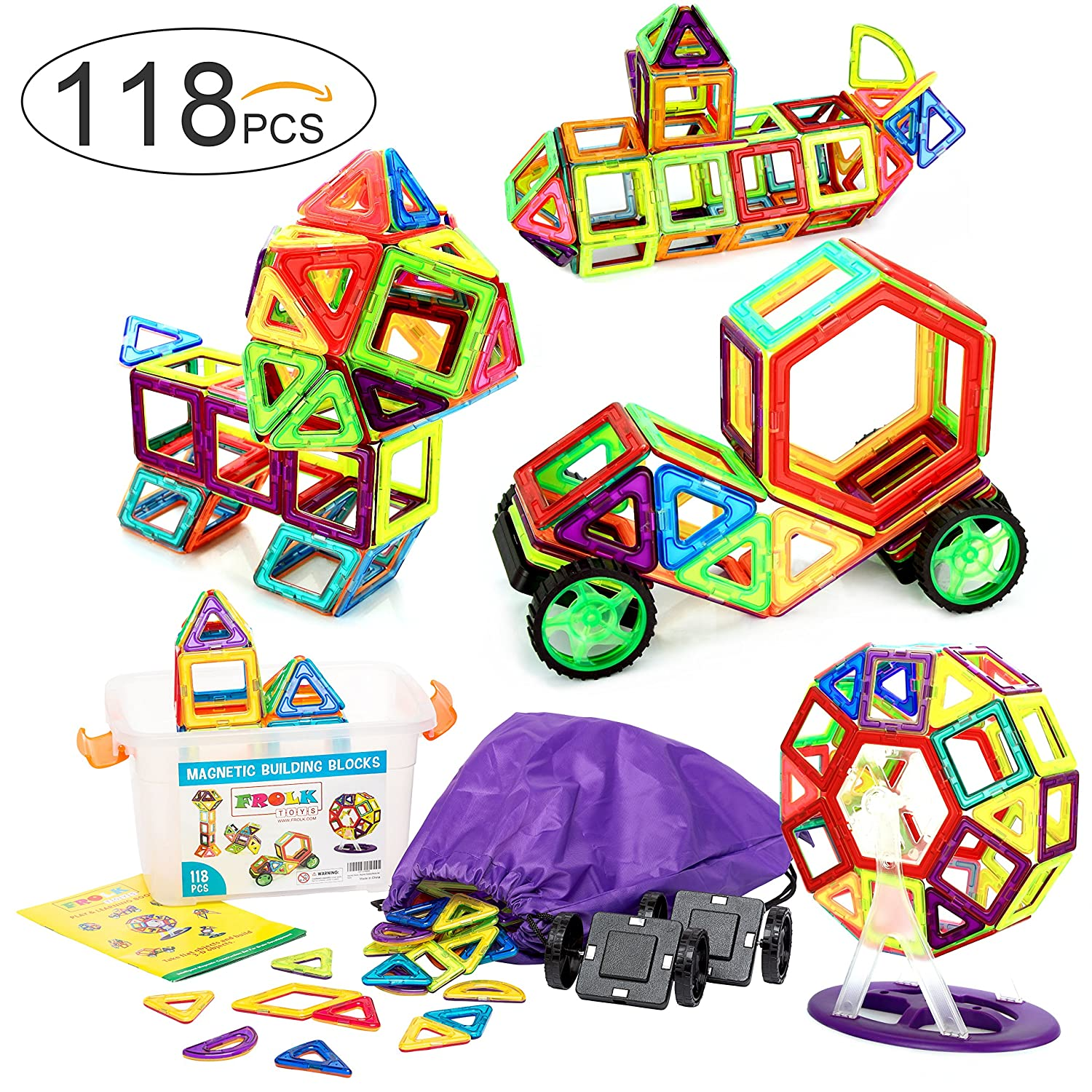 118 Pcs. Magnetic Building Blocks / Tiles Set for 3D Construction for Kids Age 3+. Educational Toy for girls and boys. Hours of Fun! Comes with Plastic Storage Box and Premium Backpack. By Frolk Review
