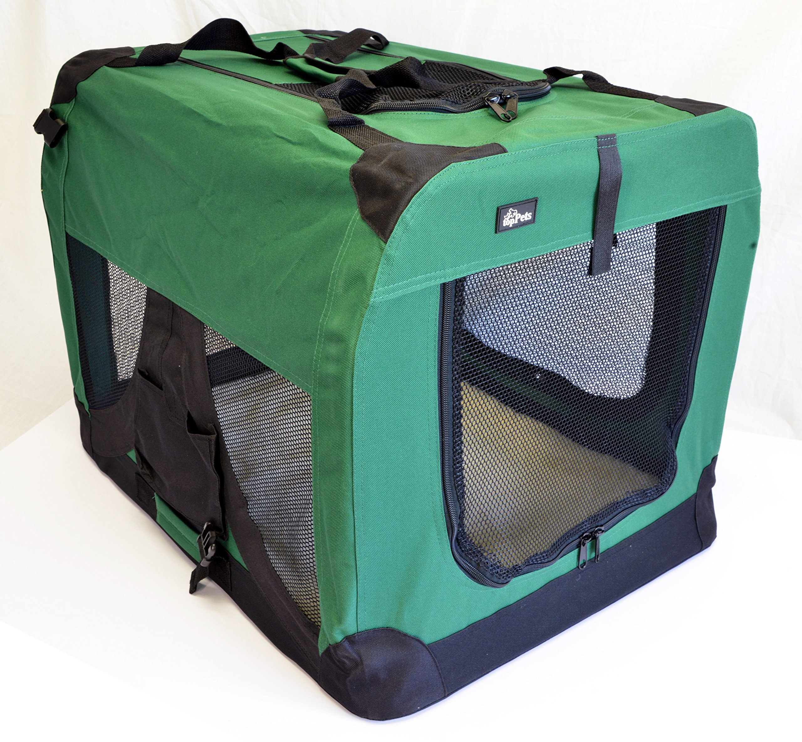 topPets Portable Soft Pet Carrier - Large: 28''x20''x20'' - Moss Green