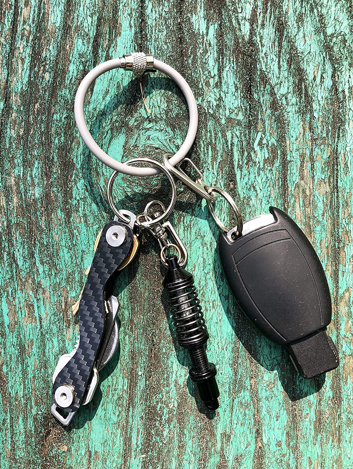 Silipac Metal Cable Key Ring-Heavy Duty Tough Stainless Steel Wire Durable Keychains Twist Lock Carabiner-for Luggage Tag Loops Travelling Key Organizer-4 Pcs Gray Silicone Coated Thick 4mm 6.3 inch