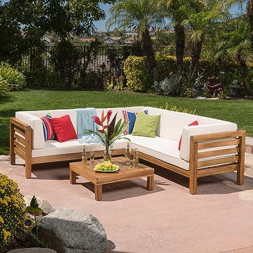 Ravello al aire libre muebles de jardín madera de 4 piezas Sofá ...