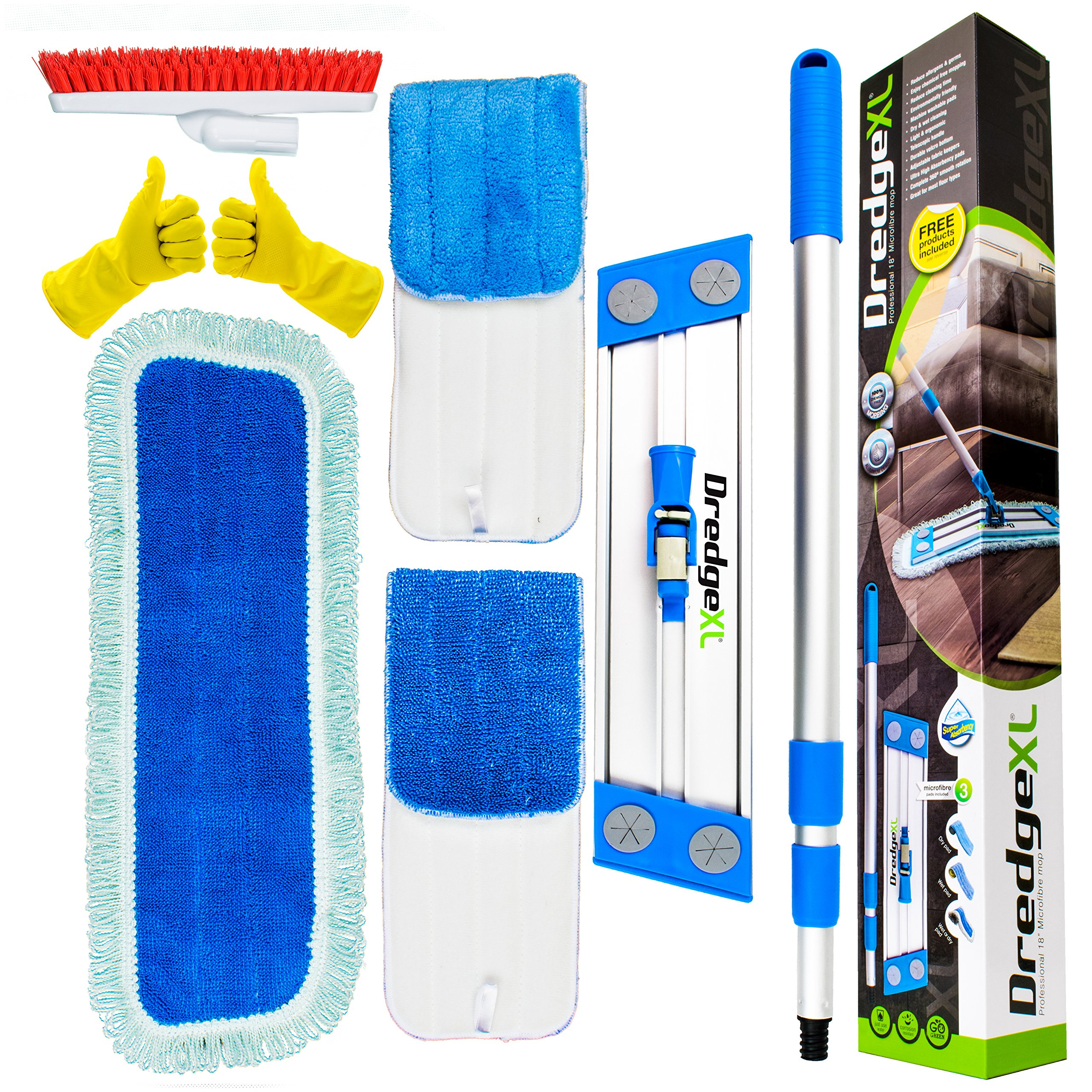 Temples Pride Professional 18'' Microfiber flat mop kit + 3 replacement wet & dry refill pads|Suits hardwood Tile Laminate Linoleum & Vinyl floor - Includes bonus grout/corner brush attachment & gloves