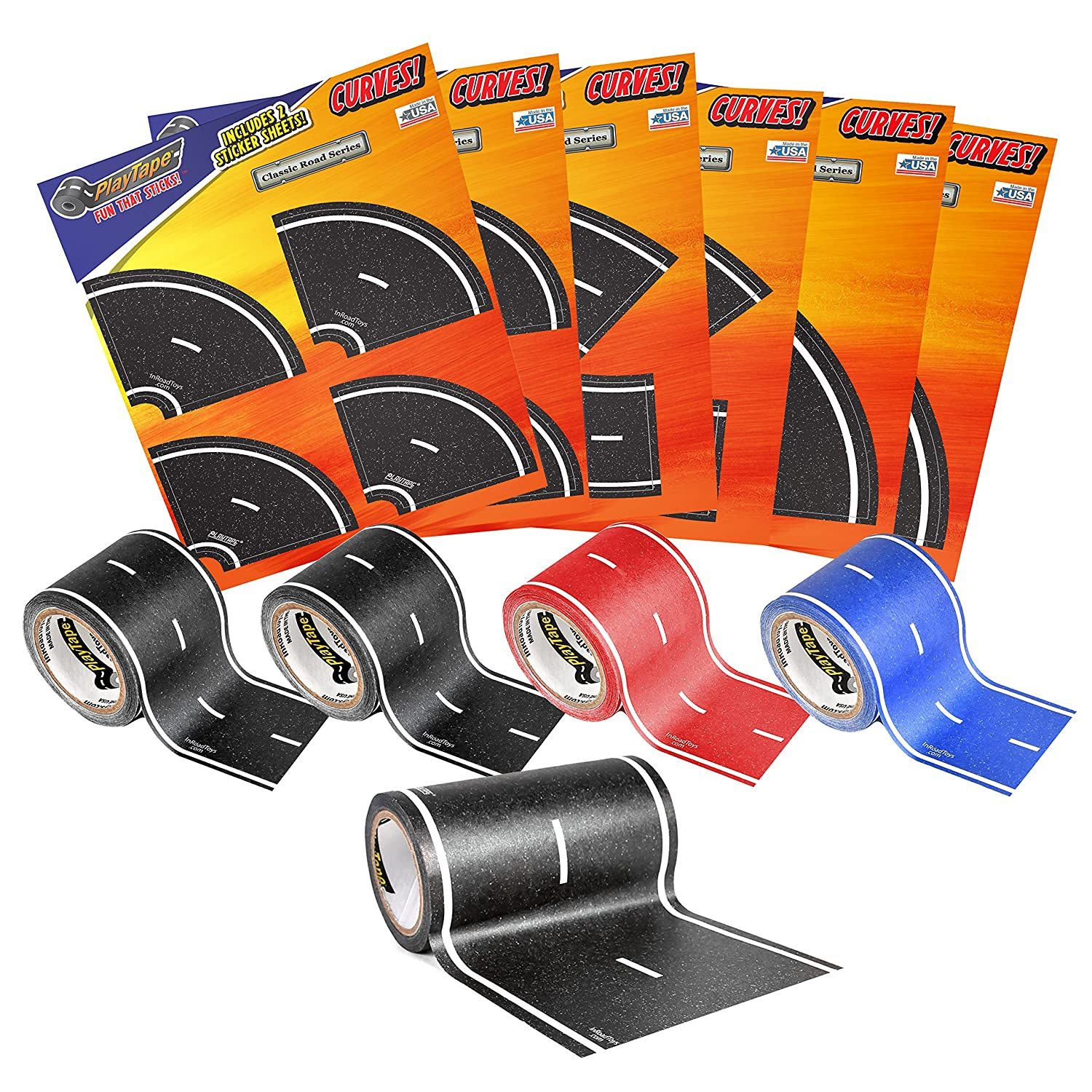 PlayTape Road Rally Road and Curve Assortment for 5 7 Kids Road Car Tape Great for Kids Sticker Roll for Cars and Train Sets Stick to Floors and Walls Quick Cleanup Children Toys Birthday Gift