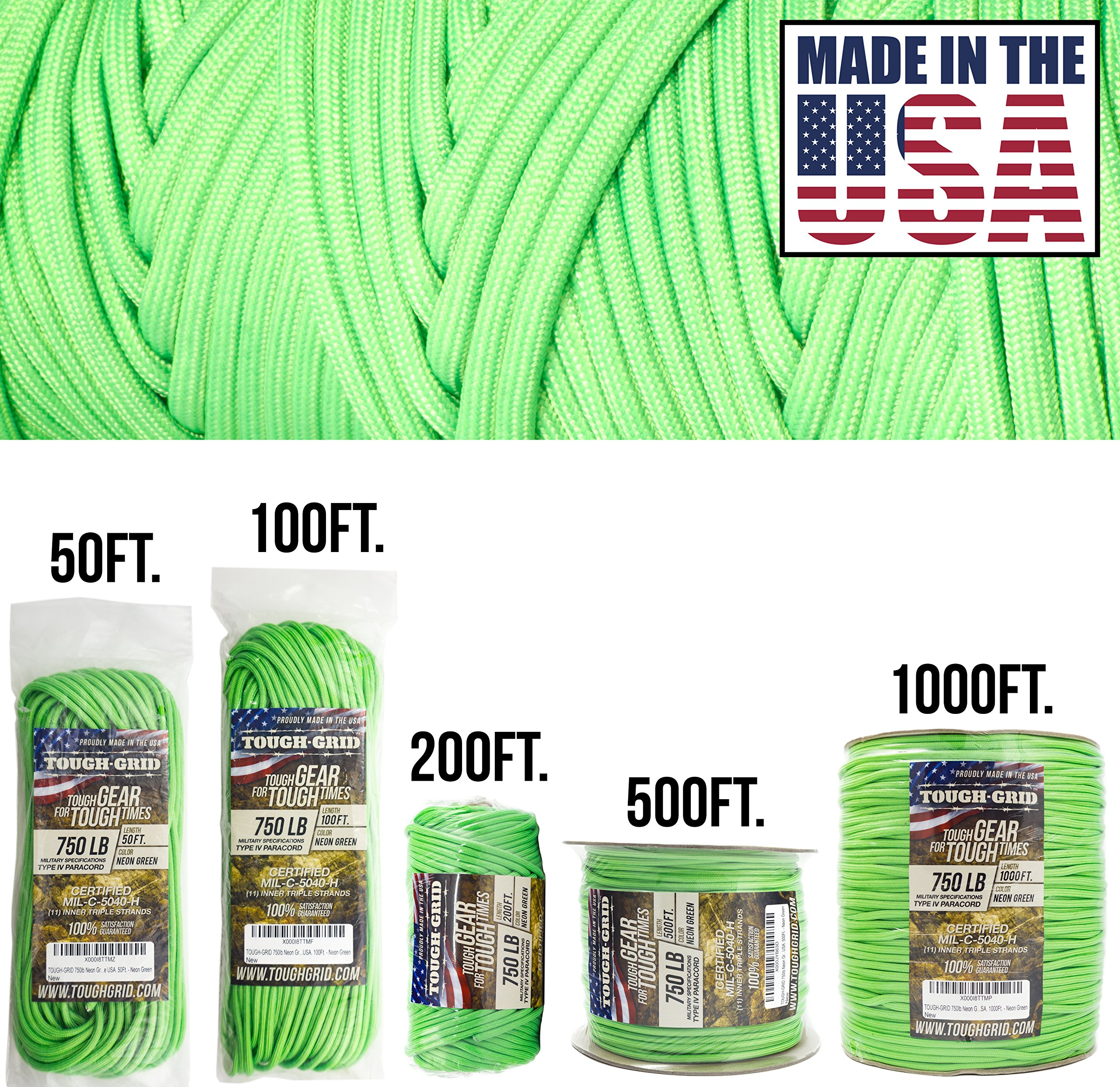TOUGH-GRID 750lb Neon Green Paracord/Parachute Cord - Genuine Mil Spec Type IV 750lb Paracord Used by The US Military (MIl-C-5040-H) - 100% Nylon - Made in The USA. 100Ft. - Neon Green by TOUGH-GRID