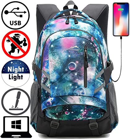 Galaxy Backpack Bookbag For School Student College Travel Business With USB Charging Port Fit Laptop Up to 15.6 Inch Anti theft Night Light Reflective Galaxy Fresh F