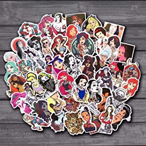 50Pcs/Lot Spoof Punk Tattoo Princess Sticker for Kids Toy Luggage Skateboard Phone On Laptop Moto Bicycle Wall Guitar Stickers