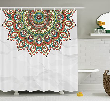 Mandala Shower Curtain By Ambesonne Arabesque Style Pattern With Quote Mystical Cycle Of Life