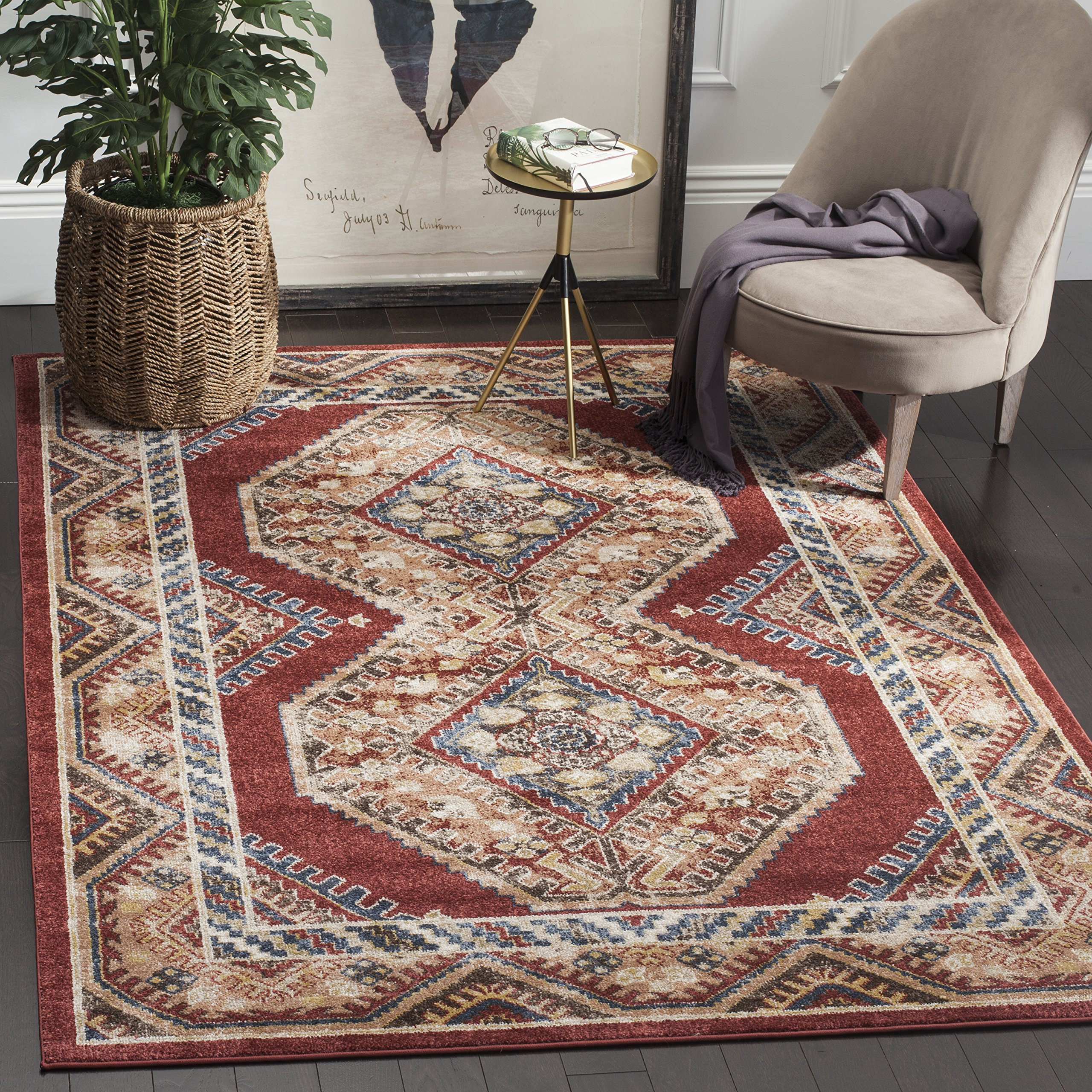 Safavieh Bijar Collection BIJ647R Red and Rust Vintage Oriental Area Rug (6'7'' Square) by Safavieh