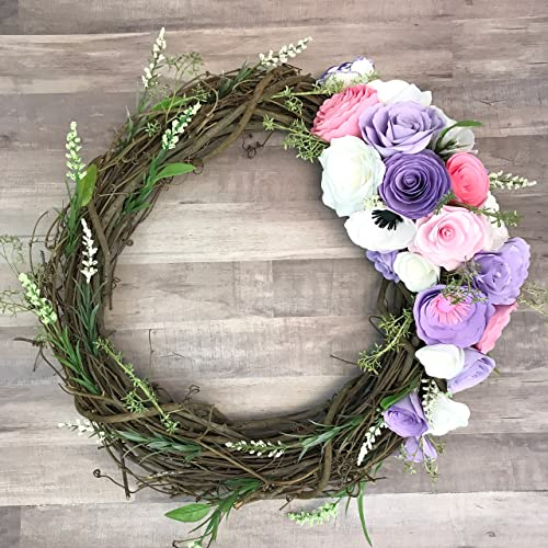 Amazon lavender and pink paper flower wreath handmade lavender and pink paper flower wreath mightylinksfo