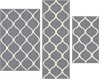product image for Maples Rugs Rebecca [3pc Set] Non Kid Accent Throw Rugs Runner [Made in USA] for Entryway and Bedroom, Grey/White