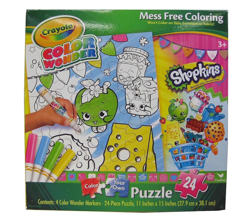 Amazon.com: Crayola Color Wonder Shopkins Puzzle 24-Pcs with 4 Color ...