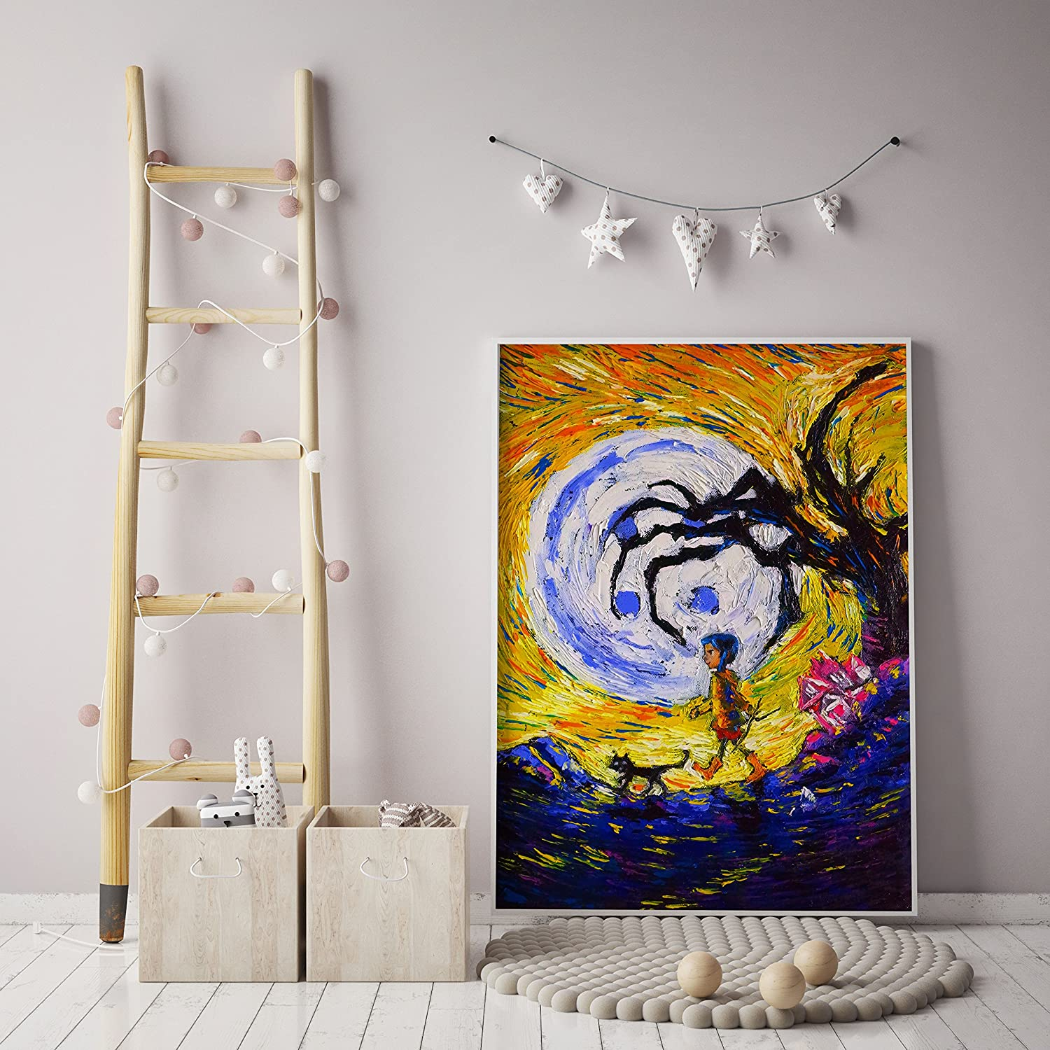 Uhomate Coraline Vincent Van Gogh Starry Night Posters Home Canvas Wall Art Print Poster Baby Gift Nursery Decor Living Room Wall Decor A131 8X10