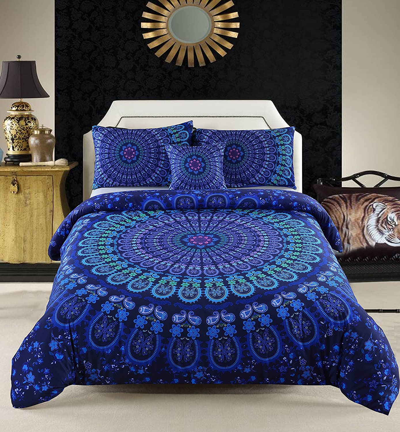 MeiLa 4 Pcs Luxury Soft Microfiber Bedclothes Plain Twill Boho Bohemian Duvet Cover Set Mandala Pattern Bedding Sets King