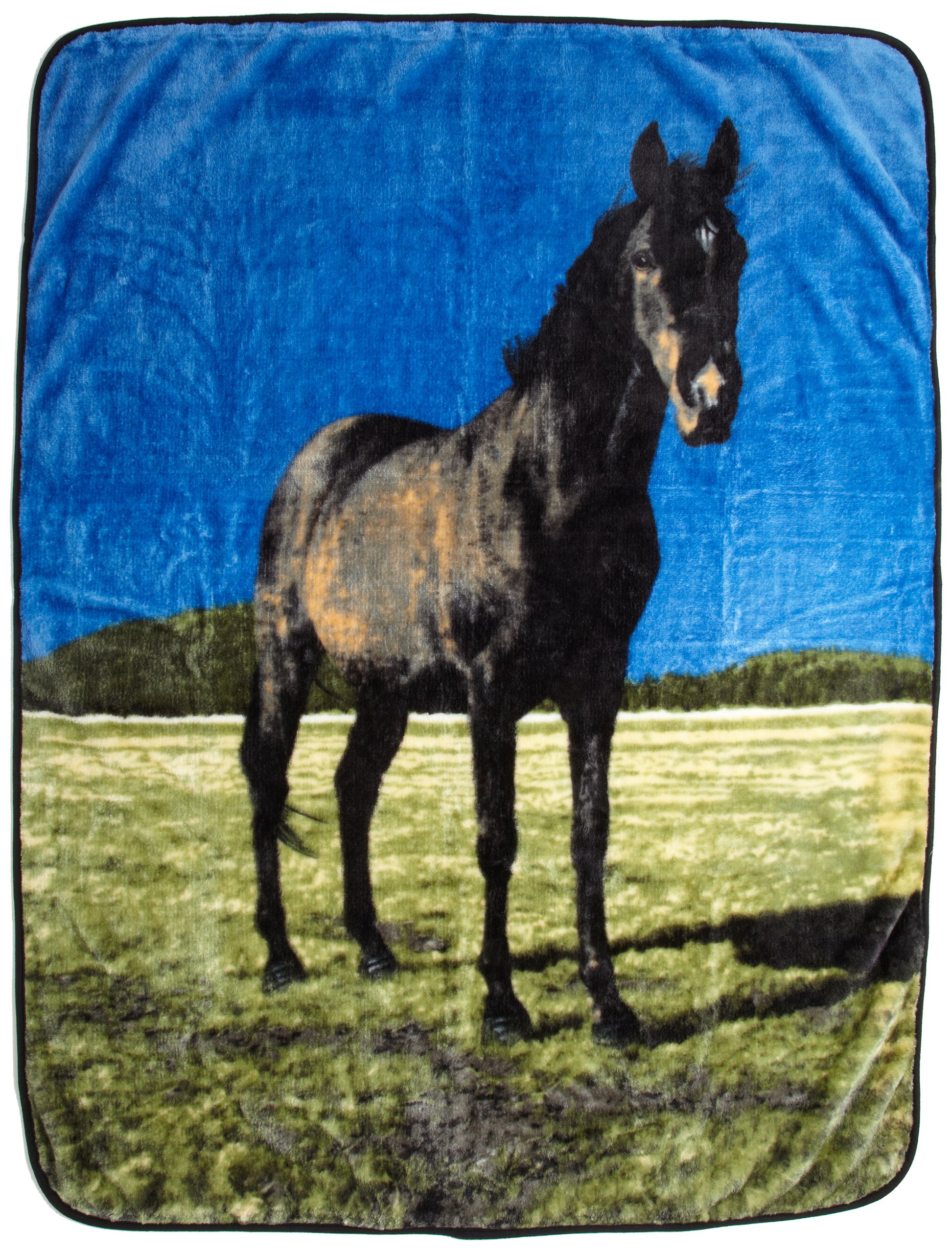 Northpoint Printed Raschel Animal Throw, Black Beauty