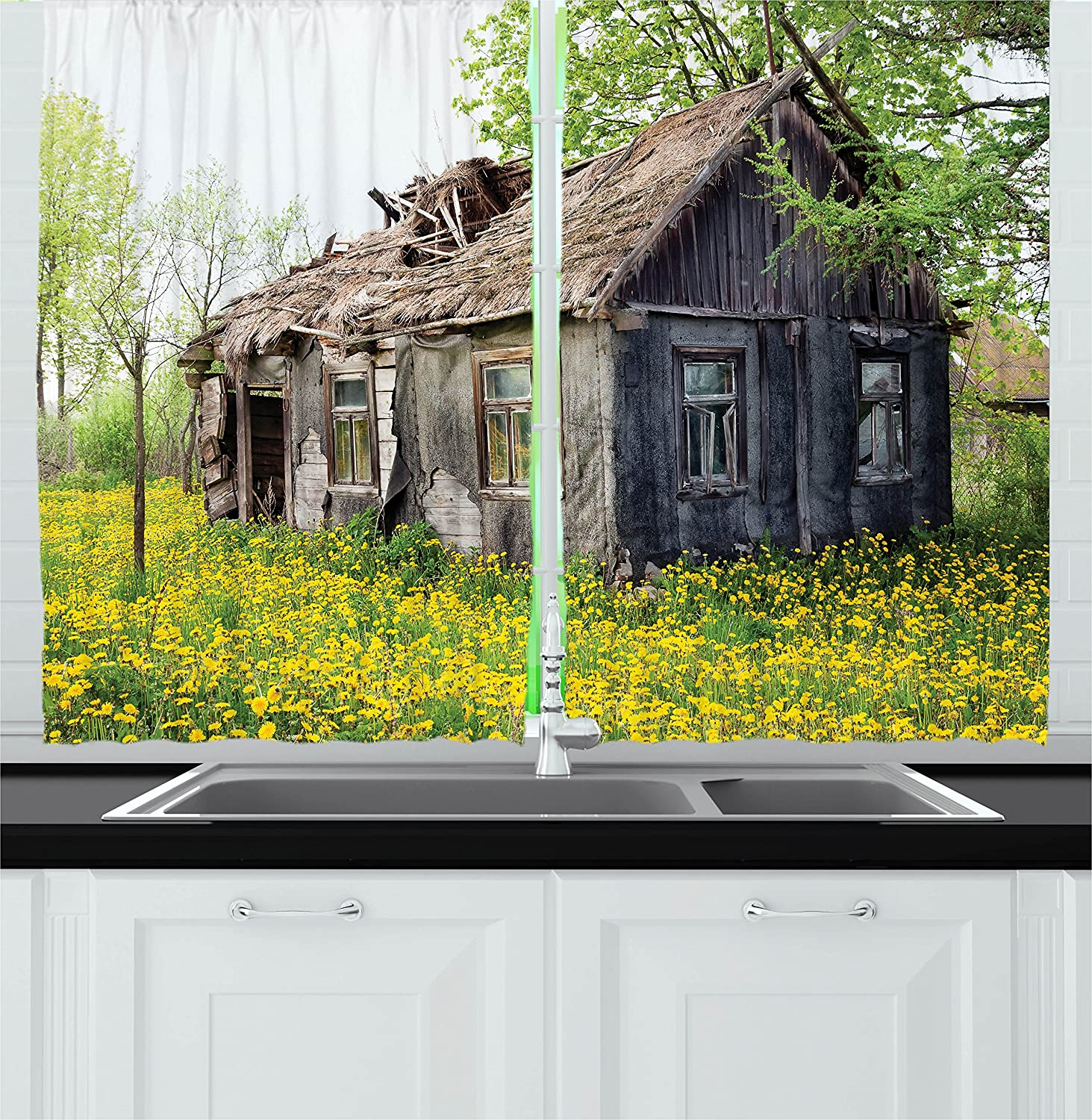 Ambesonne Wooden Decor Kitchen Curtains, Old Barn Farmhouse Countryside Cottage House in Garden Rural Vintage Picture, Window Drapes 2 Panels Set for Kitchen Cafe, 55W X 39L Inches, Brown Green