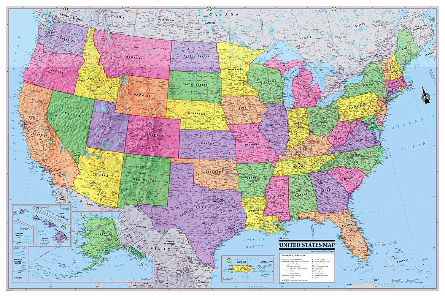 CoolOwlMaps United States Wall Map Poster 36\