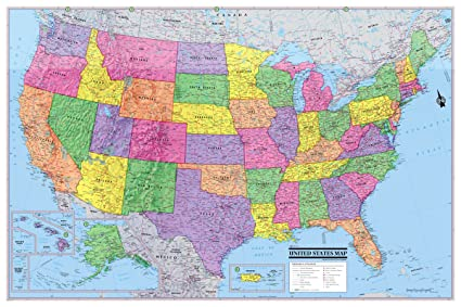 Amazon Com Coolowlmaps United States Wall Map Poster 36 X24 Usa