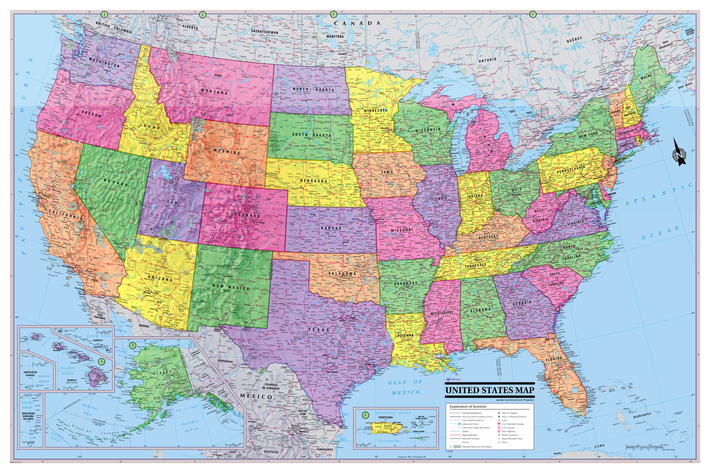 United States 3D Wall Map Poster 36x24 Rolled Laminated - 2018 by Cool Owl Maps (Image #1)