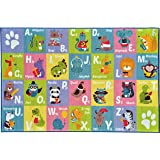 KC CUBS Kev & Cooper Playtime Collection ABC Alphabet Animal Educational Area Rug - 5'0 x 6'6