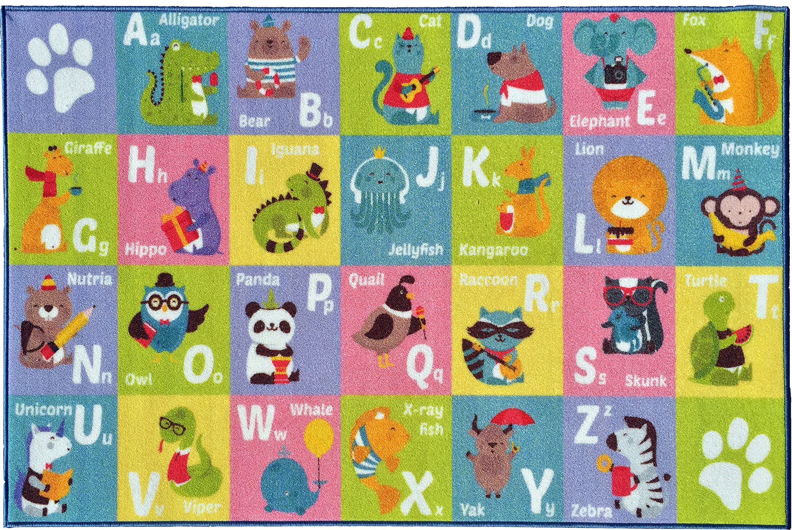 KC CUBS Kev & Cooper Playtime Collection ABC Alphabet Animal Educational Area Rug - 5'0'' x 6'6''