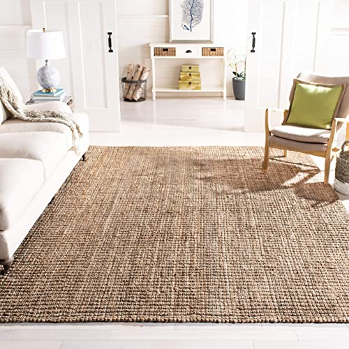 Safavieh Natural Fiber Collection NF447M Hand Woven Natural and Grey Jute Square Area Rug 6' Square