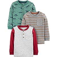 Simple Joys by Carter's Paquete de 3 Camisas de Manga Larga. Fashion-t-Shirts Niños (Pack de 3)