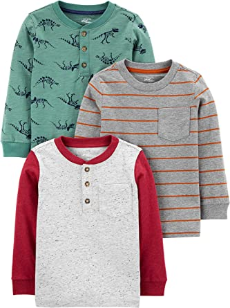 Stripes//Gray Simple Joys by Carters 3-Pack Thermal Long Sleeve Shirts Camisa 3T