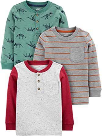 Simple Joys by Carter's Paquete de 3 Camisas de Manga Larga Niños, Pack de 3