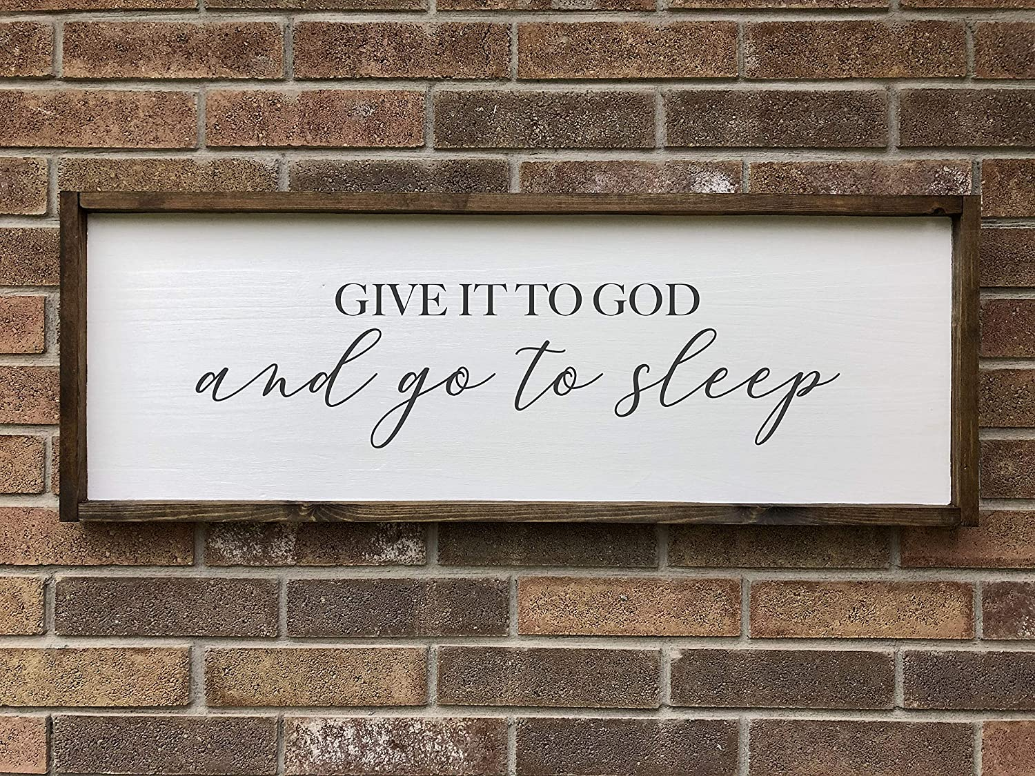 CELYCASY Give it to God and go to Sleep Framed Wood Sign, Bedroom Wall Art, Modern Farmhouse Decor, Large Framed Wood Saying, Over The Bed Wall Art