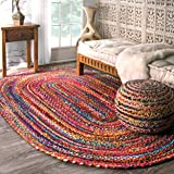 nuLOOM Hand Braided Bohemian Colorful Cotton Oval Rug, Multi, 5' x 8'