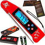 Instant Read Thermometer - Best Digital Internal Meat Thermometer with Long Collapsible Probe, Backlight and Talking functions - Mister Chefer Ultra Fast Electric Food Thermometer for Grill, BBQ, Kitc