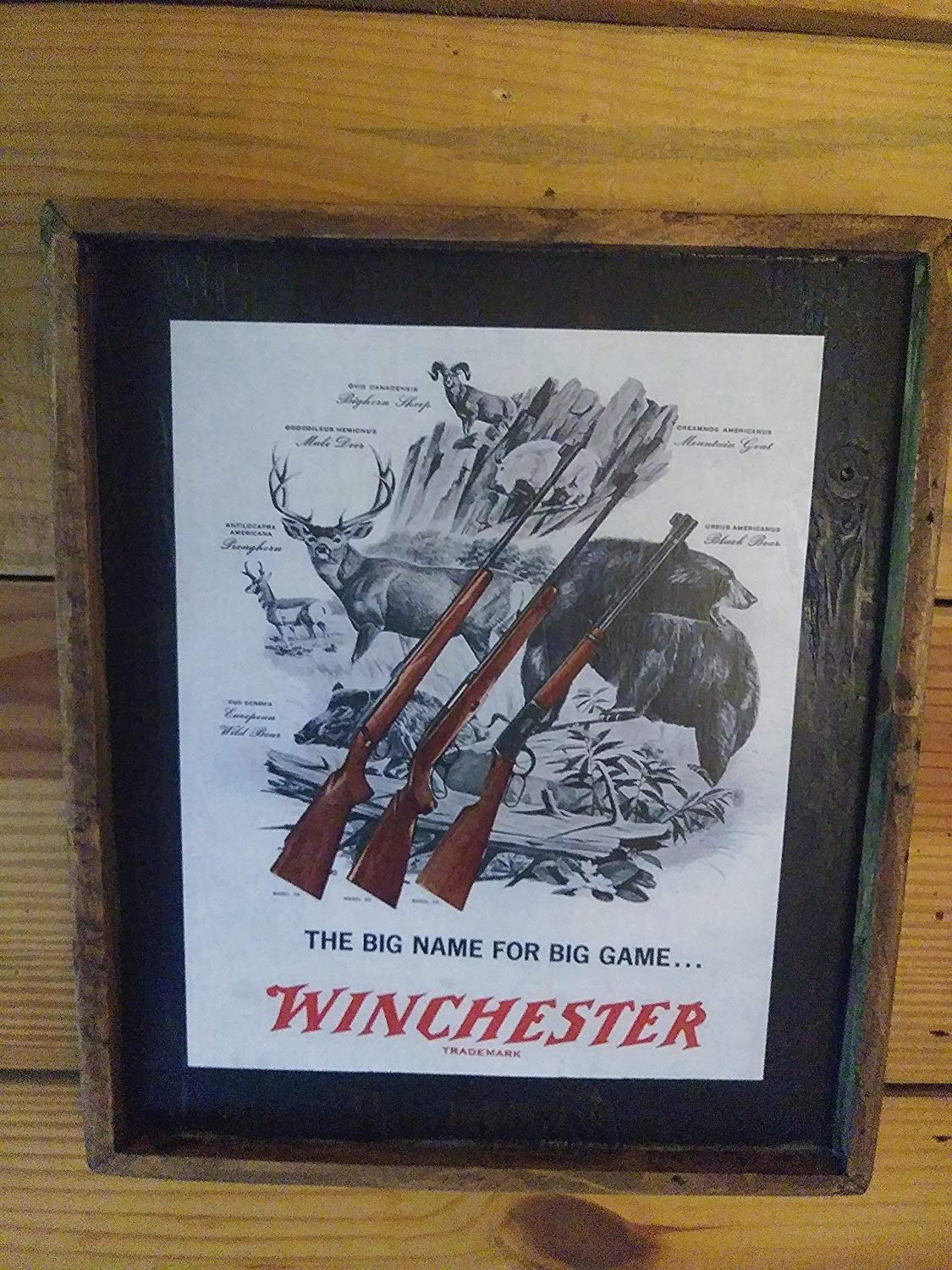 Vintage Winchester Rifle Advertisement - Wooden Sign