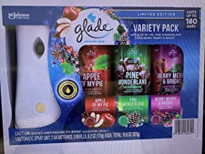 Glade Automatic Spray Kit Limited Edition Fall Variety Pack (Apple of My Pie, Fall Night Long, and Pumpkin Spice Things Up)