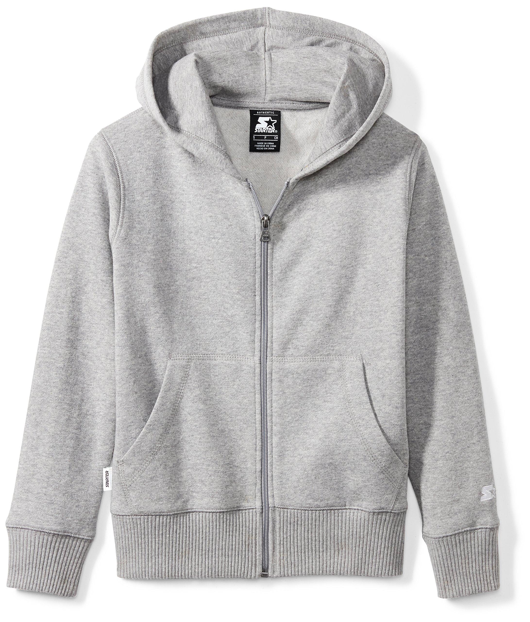 Starter Boys' Solid Zip-Up Hoodie, Amazon Exclusive, Vapor Grey Heather, S (6/7)