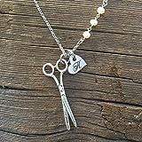 Hairdresser Gifts Hairdresser Necklace Hairdresser Jewelry Scissors Necklace Stylist Necklace Seamstress Necklace Pearl Necklace