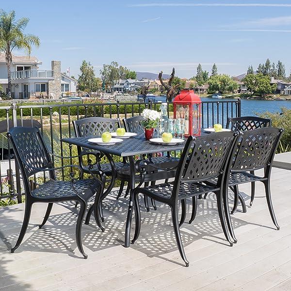 Marietta Outdoor 7pc Black Cast Aluminum Dining Set