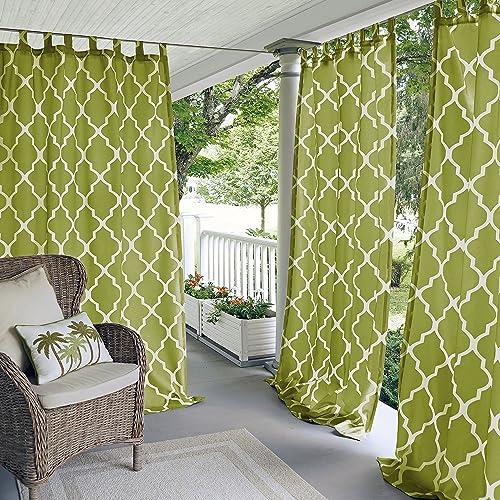 Elrene Home Fashions 26865796490 Indoor/Outdoor Tab Top Single Panel Window Curtain Drape